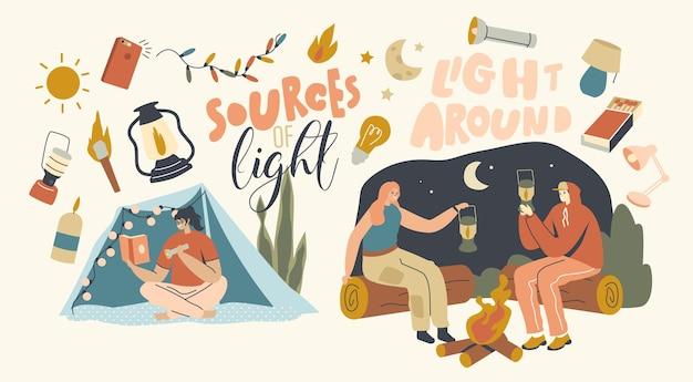 Sources de lumière concept. les personnages masculins et féminins utilisent des fournitures différentes pour l'éclairage. hommes et femmes avec lampe de poche, lanterne et allumettes, torche ou guirlande. illustration vectorielle de gens de dessin animé