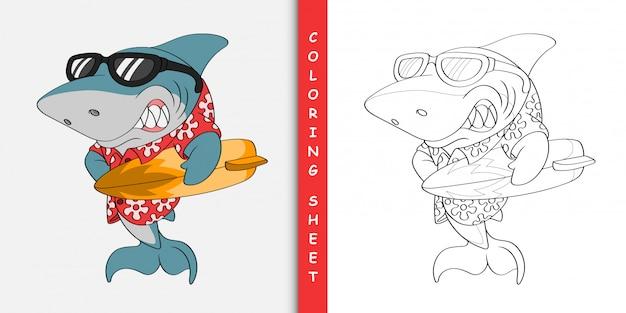 Souriant dessin animé de requin surfeur, feuille à colorier