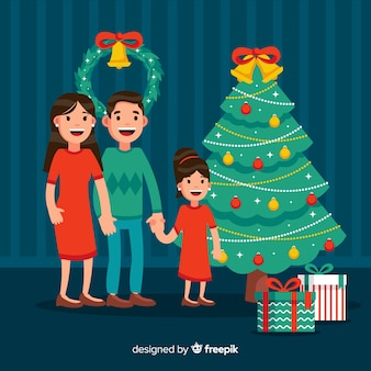 Souriant famille illustration de noël