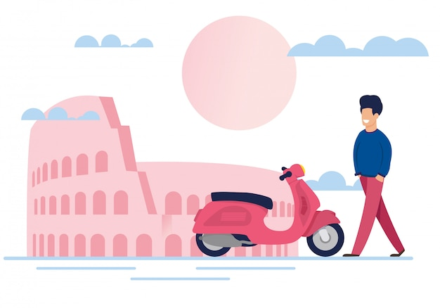 Souriant mâle touriste et vélomoteur dans la rue
