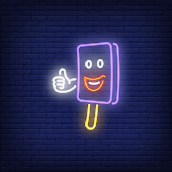 Souriant personnage de barre de glace montrant le pouce vers le haut de l'enseigne au néon
