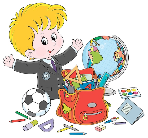 Souriant petit écolier avec règles manuels cahiers d'exercices crayons stylos un football un globe et une illustration de dessin animé de vecteur de sac d'école sur fond blanc