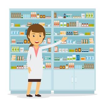 Souriant pharmacien