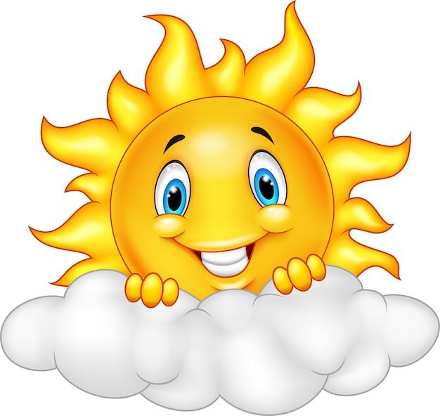 Souriant soleil personnage mascotte cartoon