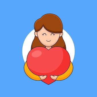 Souriante jeune femme étreignant le coeur chaleureusement pour exprimer l'affection d'amour et l'illustration de contour de célébration de jour de coeur