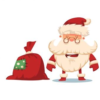 Souriez le père noël avec un sac cadeau rouge. illustration de dessin animé de noël de vecteur isolé