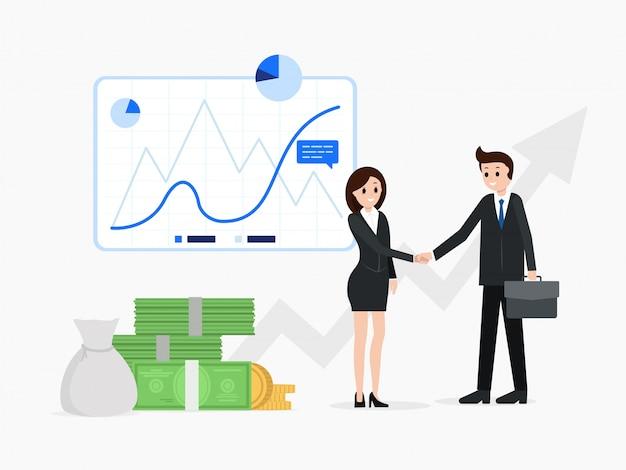 Sourire aux partenaires commerciaux après une bonne affaire