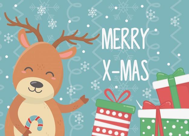 Sourire de cerf avec des cadeaux et illustration de la canne en bonbon