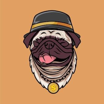 Sourire chien carlin avec illustration de vecteur de concept de style hip hop isolé sur fond