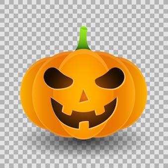 Sourire de citrouille de dessin animé en colère pour halloween isolé sur fond transparent.