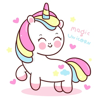 Sourire de dessin animé mignon licorne avec animal kawaii coeur