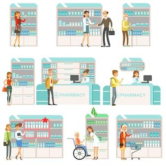 Sourire, gens, pharmacie, choisir, et, acheter, drogues, et, cosmétiques, ensemble, de, pharmacie, scènes, à, pharmaciens, et, clients