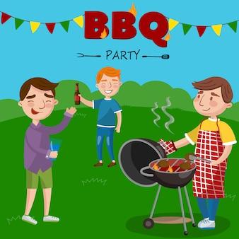 Sourire, homme, préparer, barbecue, dehors, sien, amis, bbq, garçons, fête, illustration,