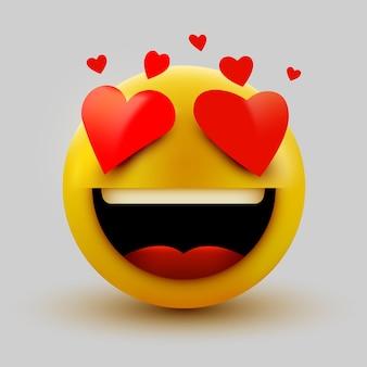 Sourire en icône émoticône amour, coeurs d'amour dans les yeux. v