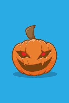 Sourire illustration de dessin animé citrouille halloween