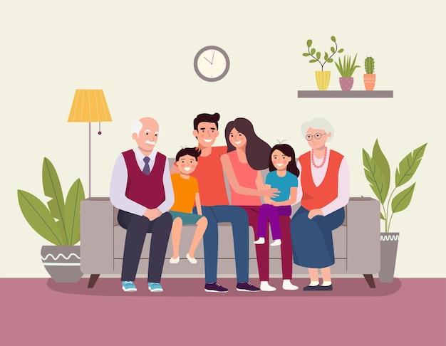 Sourire de jeunes parents, grands-parents et leurs enfants sur un canapé dans le salon