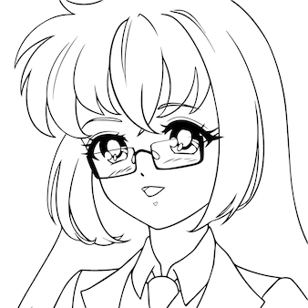 Sourire jolie fille anime portant des lunettes