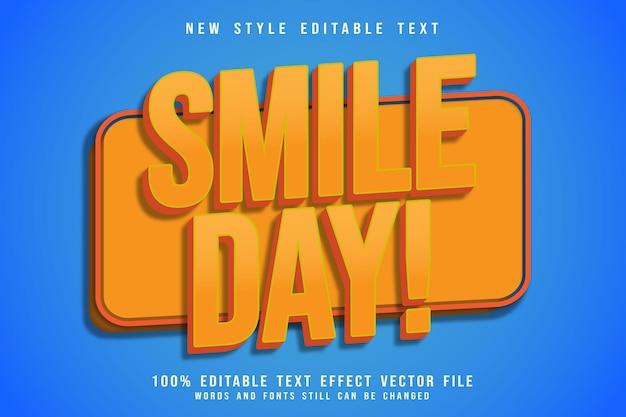 Sourire jour effet de texte modifiable en relief style comique
