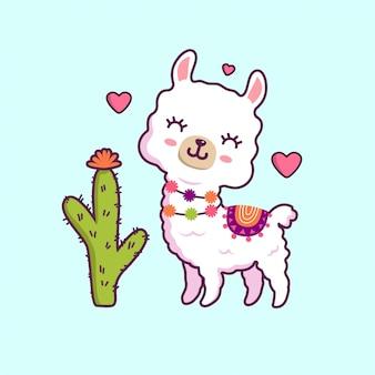 Sourire de lama mignon sans problème