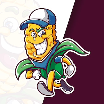 Sourire de mascotte de chapeau de maïs en cours d'exécution