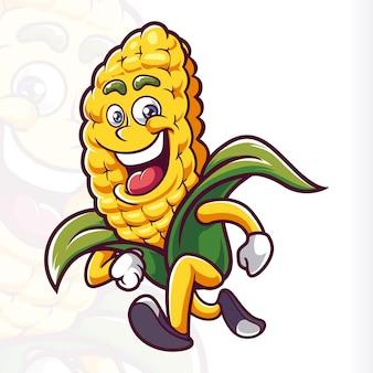 Sourire de mascotte de maïs en cours d'exécution