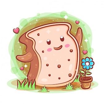 Sourire mignon dessin animé kawaii de personnage de pain