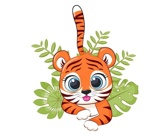 Sourire mignon de petit tigre. dessin animé