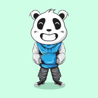 Sourire panda avec usure urbaine