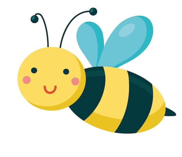 Sourire de petite abeille vole personnage de dessin animé mignon bébé