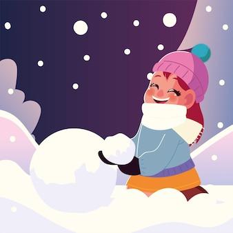 Sourire de petite fille avec boule de neige en illustration vectorielle hiver
