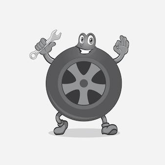 Sourire, pneu, mascotte, logo, conception