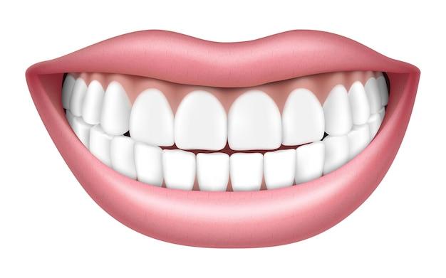 Sourire réaliste avec des dents blanches, des lèvres et des dents, isolé sur fond blanc, illustration vectorielle 3d