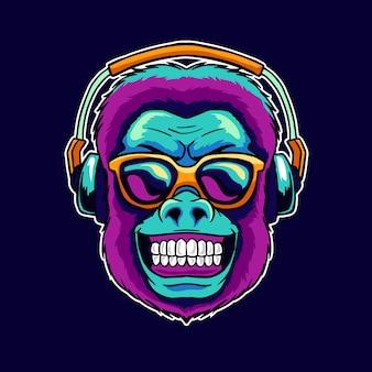Sourire de singe porter des lunettes cool en écoutant de la musique dope sur l'illustration du haut-parleur du casque.