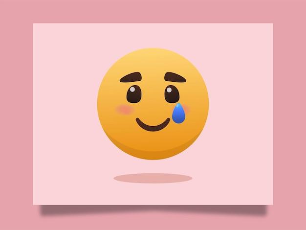 Sourire triste emoji avec illustration d'icône de larmes