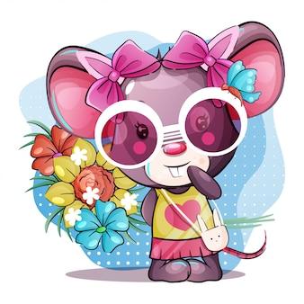 Souris bébé mignon dessin animé avec des fleurs