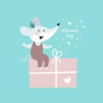 Souris avec cadeau. carte