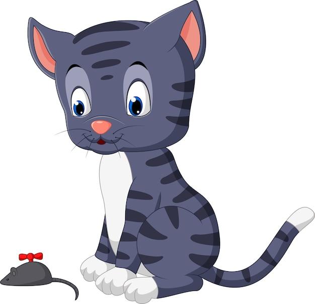 Souris chat mignon dessin animé