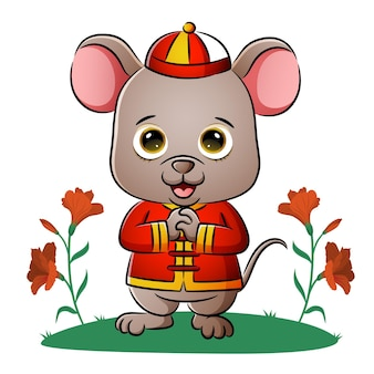 La souris chinoise mignonne donne la salutation de l'illustration
