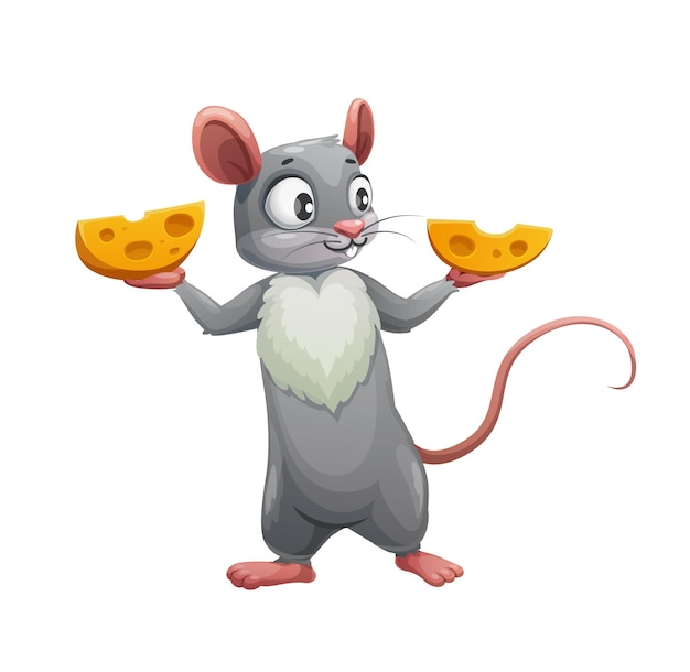 Souris de dessin animé et deux moitiés de fromage. rat ou souris mignon de vecteur, personnage animal rongeur affamé tenant des quartiers de fromage suisse, petite souris grise avec oreilles roses, queue et poitrine blanche