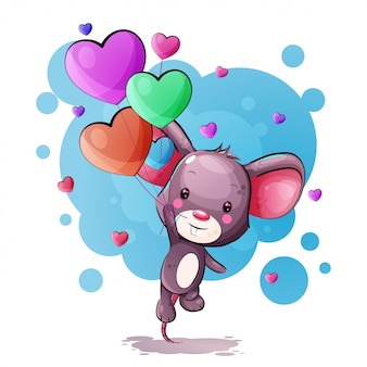 Souris de dessin animé mignon avec des ballons de coeur