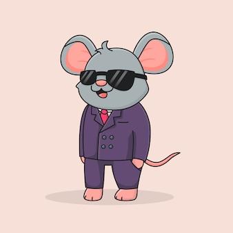 Souris détective mignonne avec des lunettes noires
