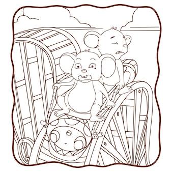 Souris d'illustration de dessin animé jouant un livre ou une page de montagnes russes pour les enfants en noir et blanc
