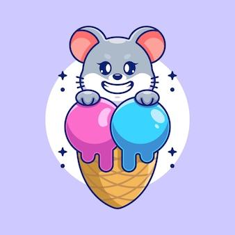 Souris mignonne avec la bande dessinée de cornet de crème glacée