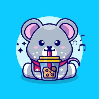 Souris mignonne buvant du thé au lait boba dessin animé