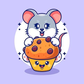 Souris mignonne avec dessin animé cup cake