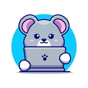 Souris mignonne avec dessin animé pour ordinateur portable