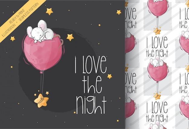 Souris mignonne dormant avec motif transparent ballon
