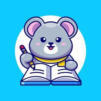 Souris mignonne écrivant sur livre avec dessin animé de crayon
