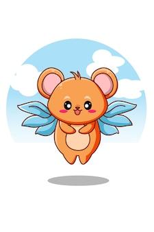 Souris mignonne avec illustration de dessin animé animal ailes