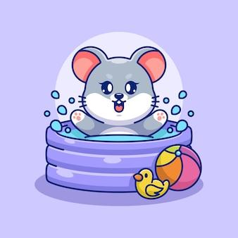 Souris mignonne jouant dans une piscine gonflable